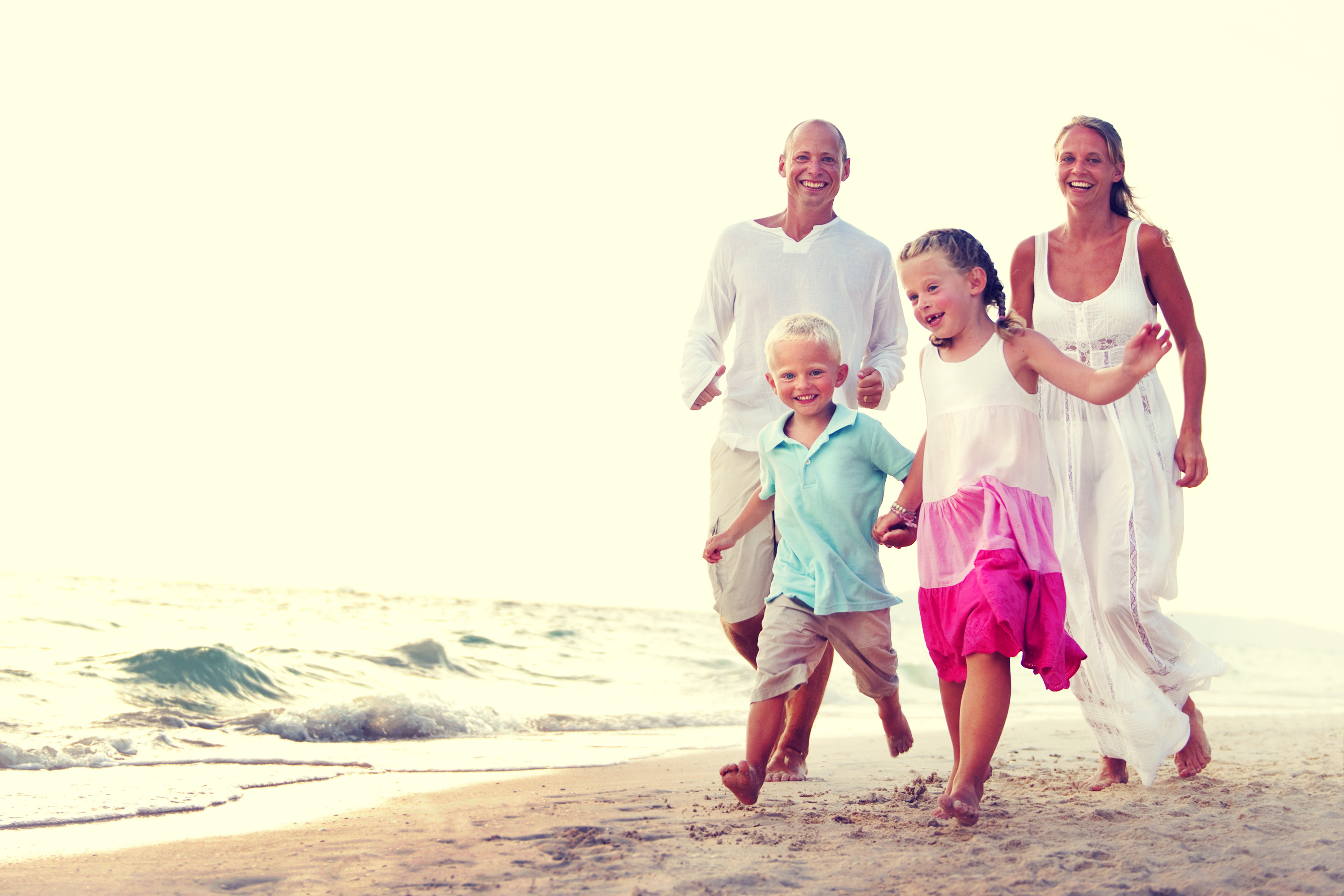 Family Running Playful Vacation Travel Holiday Concept